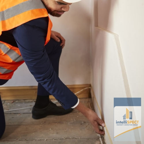 A Home Inspector Checks A Wall.