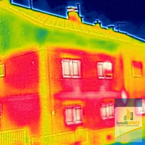 A Thermal Image of Warm Spots on Exterior of a Home.